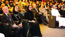 "Her Highness Sheikha Moza bint Nasser, chairperson of Qatar Foundation (QF), attended the ""GU-Q 100:"
