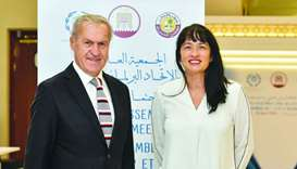 David Carter and Marja Lubeck at IPU in Doha. PICTURE: Noushad Thekkayil