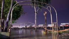 This picture shows a flooded funfair on the overflowed banks of Tigris river in Mosul on April 11, 2