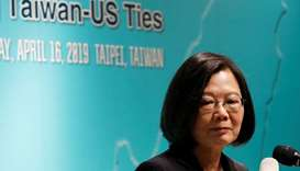 Taiwan's President Tsai Ing-wen speaks during an event that marks the 40th anniversary of the Taiwan