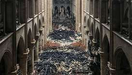 An interior view of the Notre-Dame Cathedral in Paris in the aftermath of a fire that devastated the