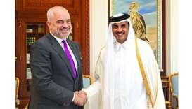 His Highness the Amir Sheikh Tamim bin Hamad al-Thani receives Albanian Prime Minister Edi Rama at h
