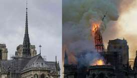 Notre-Dame Cathedral's steeple (file photo) and the same view as it is collapsing during the fire