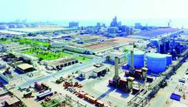 An aerial view of facilities of Qapco, an IQ subsidiary, in Mesaieed