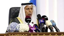 HE the Speaker of the Advisory Council Ahmed bin Abdullah bin Zaid al-Mahmoud addressing a press con