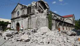 The 18th century St. Catherine of Alexandria church is seen after its bell tower was destroyed follo