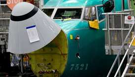 The angle of attack sensor, at bottom center, is seen on a 737 MAX aircraft at the Boeing factory in