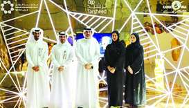 HIA and Kahramaa officials at the Tarsheed booth at HIA.