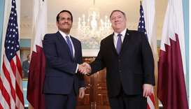 US Secretary of State Mike Pompeo and Qatari Foreign Minister HE Sheikh Mohamed bin Abdulrahman al-T