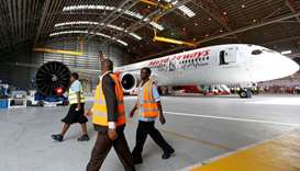 Kenya Airways Boeing Dreamliner 787-8 inside a hangar at the carrier's headquarters in Nairobi, Keny