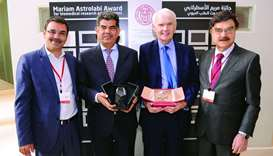 Dr Khaled Machaca, Dr Abdul Satter al-Taie, Dr Richard O'Kennedy and Dr Javaid Sheikh at the WCM-Q R