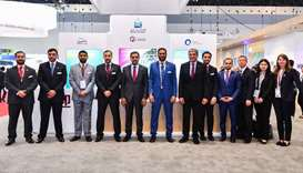 Qatargas CEO Sheikh Khalid bin Khalifa al-Thani and senior company executives at the 19th Internatio