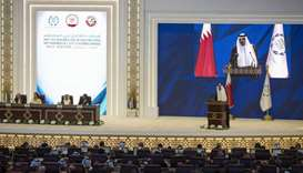 His Highness the Amir Sheikh Tamim bin Hamad al-Thani addressing the opening session of the 140th As