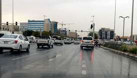 A rain-soaked road in Doha on Sunday. PICTURE: Shaji Kayamkulam