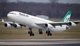 An Airbus A340-300 of Iranian airline Mahan Air takes off from Duesseldorf airport DUS, Germany Janu