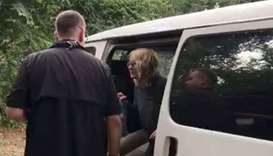 US tourist Kimberly Sue Endicott is seen after her rescue in Uganda