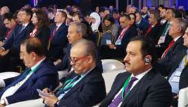 Al-Khater attending the 12th session of the Russian-Arab Business Council meet in Moscow.