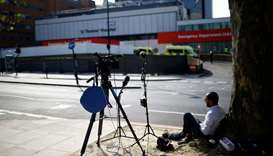 Media outside St Thomas' Hospital after British Prime Minister Boris Johnson spent a third night in