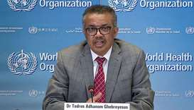 A TV grab taken from the World Health Organisation website shows WHO Chief Tedros Adhanom Ghebreyesu