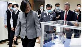 Taiwanese president Tsai Ing-Wen visits a non woven filter fabric factory, where the fabric is used