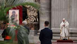 Pope Francis praying during Easter's Holy Saturday Vigil held behind closed doors at St. Peter's Bas