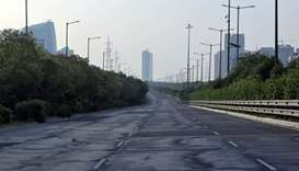 A deserted view of Yamuna Expressway that connects Delhi with Agra during a 21-day nationwide lockdo