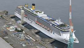 An aerial view shows Italian cruise ship Costa Atlantica in Nagasaki, southern Japan on April 21