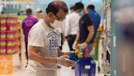 During a visit to a couple of hypermarkets on Sunday, Gulf Times lensmen saw people abiding by the r