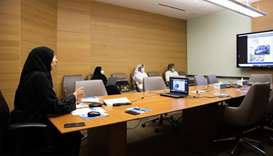 HE the Minister of Public Health Dr Hanan Mohamed al-Kuwari during the virtual meeting with WHO offi
