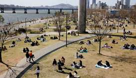 People enjoy a picnic at a Han River Park following the outbreak of the coronavirus disease (Covid-1