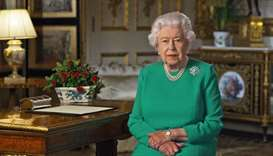 Britain's Queen Elizabeth II records her address to the UK and the Commonwealth in relation to the c