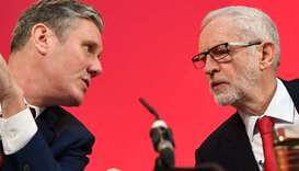 This photo taken on December 6 last year shows Corbyn with Starmer during a press conference in Lond