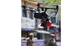 A drone used by police to monitor activities of people and spread awareness announcements is seen in