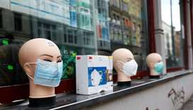 Masks are displayed at a general store, during the outbreak of the coronavirus disease (COVID-19), i
