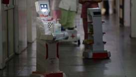 Interactive robot 'Zafi' which will be deployed at Covid -19 isolation wards is pictured during a de