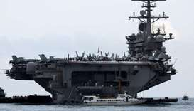 The USS Theodore Roosevelt (CVN-71) is seen while entering into the port in Da Nang, Vietnam on Marc