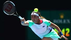 Tunisia's Ons Jabeur in action during her Australian Open quarter-final against Sofia Kenin of the U