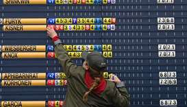 In this July 20, 2019, picture, the scoreboard is updated during the third round of the British Open