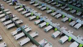 A view of beds at a shopping mall, one of Iran's largest, which has been turned into a centre to rec