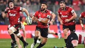 File photo of Crusaders players in action during a Super Rugby match.