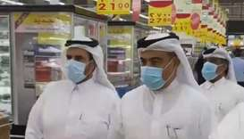 HE the Minister of Commerce and Industry Ali bin Ahmed Al Kuwari during the inspection tour at retai