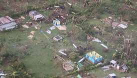 Damaged houses in the aftermath of Tropical Cyclone Harold