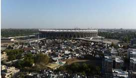 This photograph taken on April 3, 2020, shows a general view of the Sardar Patel Stadium during a go