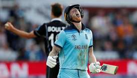In this July 14, 2019, picture, England's Ben Stokes reacts after running 3 in the superover of the