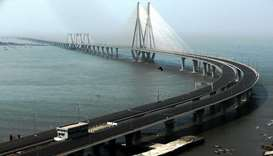 A deserted Bandra-Worli sea link is seen during a weekend lockdown to limit the spread of the corona