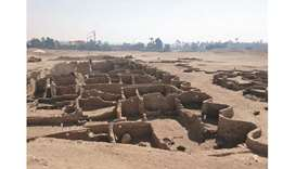 A handout picture released by the Egyptian Ministry of Antiquities shows the remains of a 3,000-year