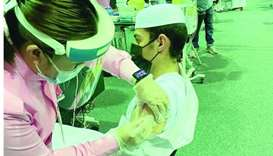 Students getting vaccine