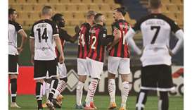AC Milan's Zlatan Ibrahimovic (second right) reacts after receiving a red card during the Italian Se
