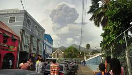 Ash and smoke billow as the La Soufriere volcano erupts in Kingstown on the eastern Caribbean island