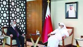 HE the Minister of Commerce and Industry, Ali bin Ahmed al-Kuwari meets with Abdulaziz Kamilov, Mini